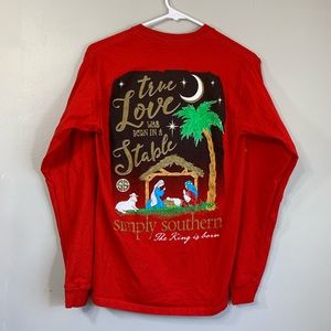 Simply Southern Red Christmas Stable Long Sleeve T
